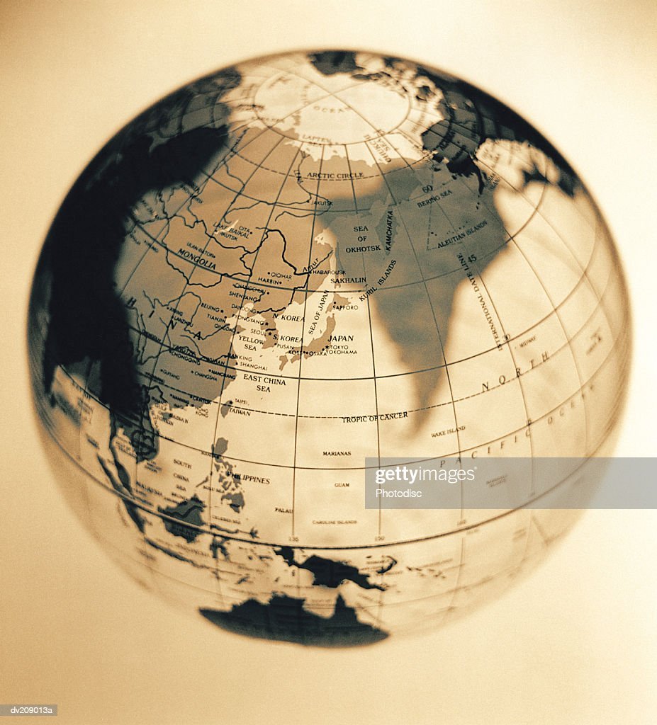 Overhead of translucent globe : Stock Photo