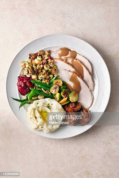 Overhead of Turkey meal on plate