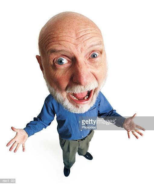 overhead photo caricature of an eldery caucasian male in a blue shirt and green pants outstretches his arms and gasps - karikatuur stockfoto's en -beelden