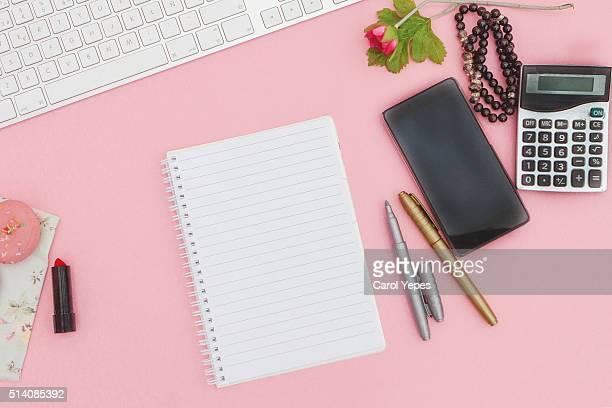 overhead  pink studio desk