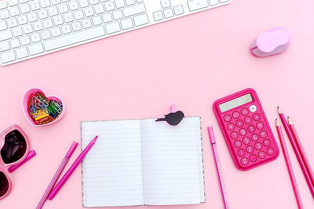 Overhead  Pink Studio Desk Wall Art