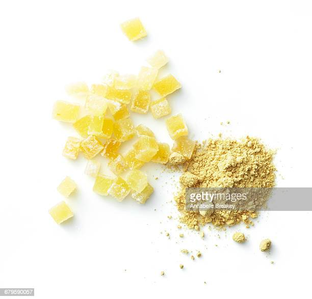 Overhead powdered ginger & ginger candy on white