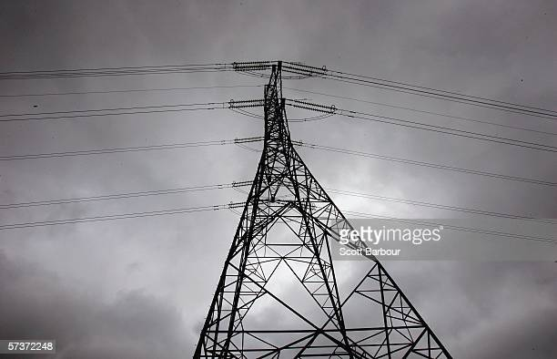 Overhead power cables dominate the skyline in the Stratford Marsh area on April 20 2006 in London England International Olympic Committee inspectors...