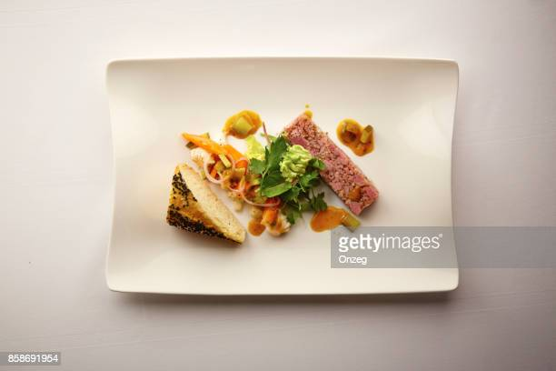 overhead shot of a plate of bread and pate - pate stock photos and pictures