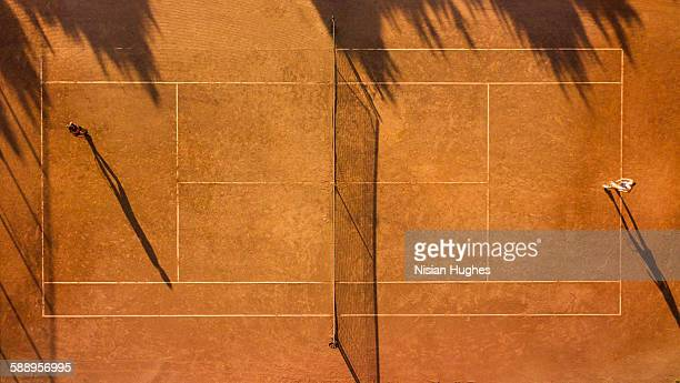 Overhead shot of tennis players on tennis court