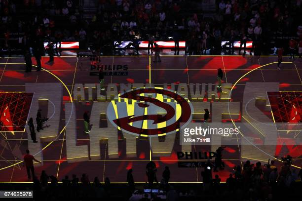 Overhead shot of the court before Game Six of the Eastern Conference Quarterfinals between the Atlanta Hawks and the Washington Wizards at Philips...