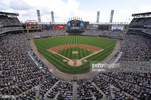 Overhead shot of U.S. Cellular Field during the game between the Chicago White Sox and the Tampa Bay Rays in Chicago, Illinois on August 24, 2008....