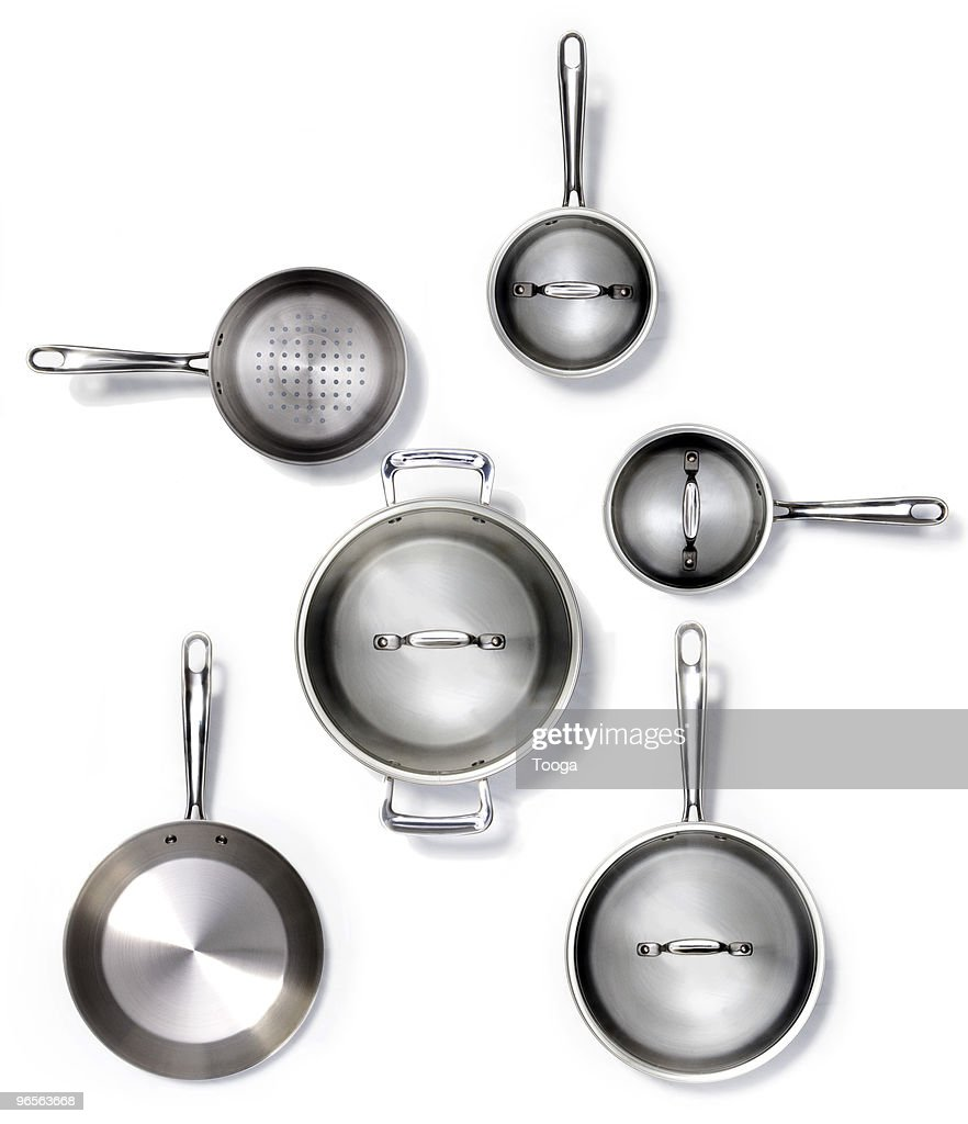 Overhead shot of various pots and pans : Stock Photo