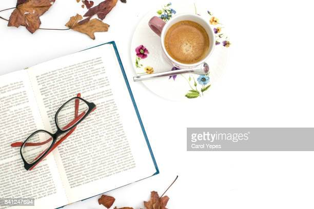 overhead shot open book and coffee with autumn leaves