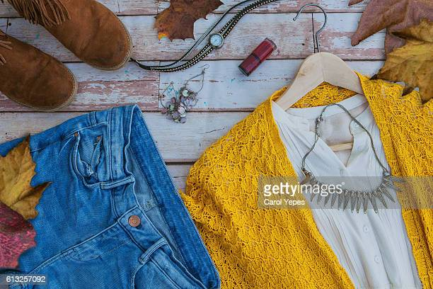 overhead shot woman autumn fashion clothes