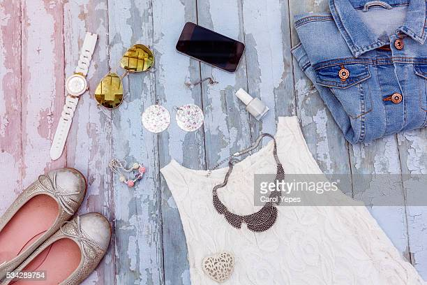 overhead shot woman spring summer clothes