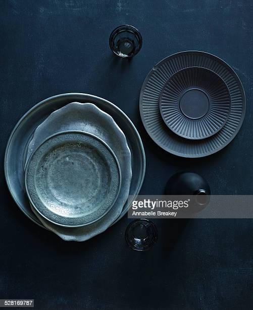 Overhead Still Life of Dark Vintage Dishes