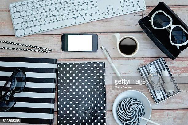 overhead studio desk.white and black