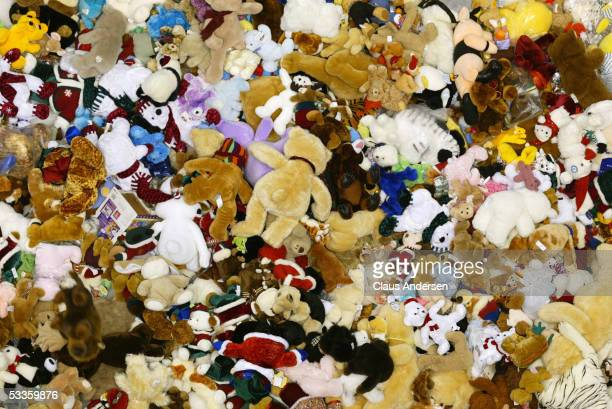 Overhead view as fans cover the ice with plush toys during a Ontario Hockey League game between the Guelph Storm and the London Knights at Jon Labatt...