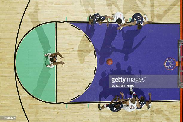 Overhead view as Justin Davis of the Stanford Cardinal shoots a free throw during the 2nd round game against the University of Connecticut Huskies in...