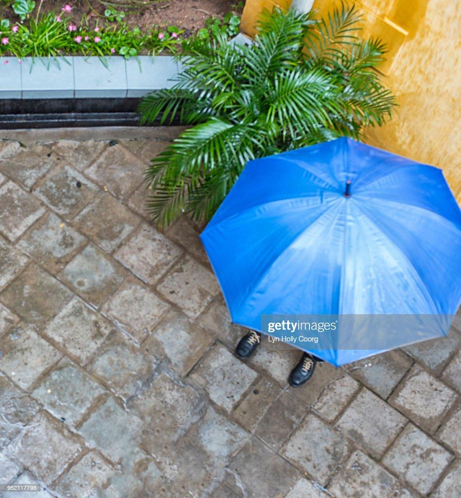 Overhead view Blue Umbrella : Stock Photo