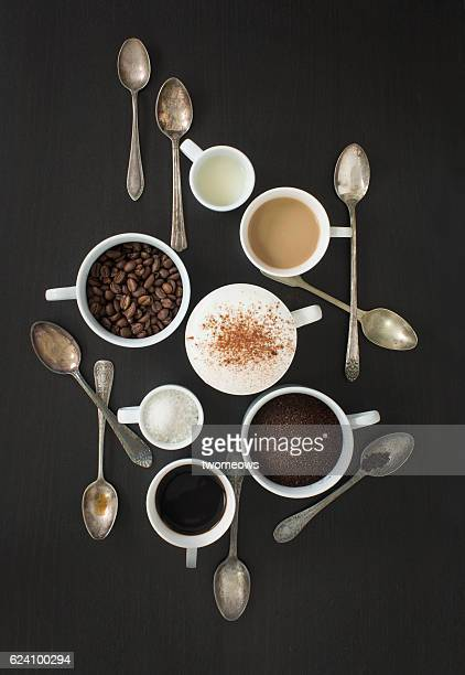 Overhead view conceptual coffee wallpaper image.