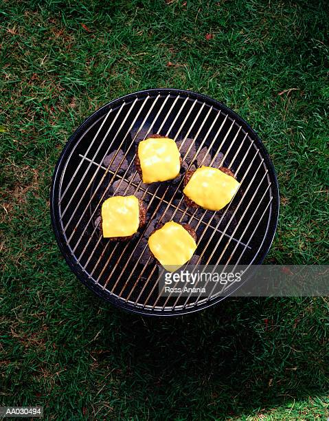 Overhead View of a Cheeseburger Barbecue