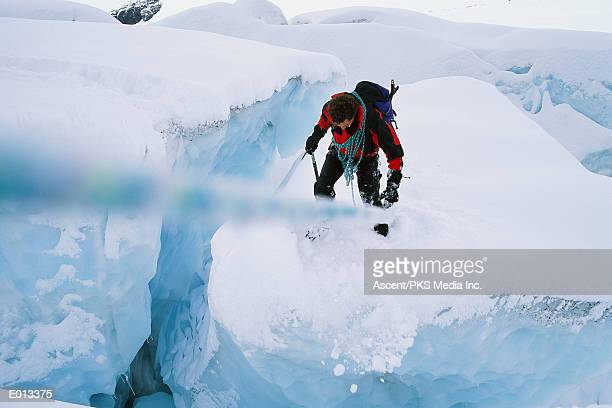 Overhead view of a climber on ice with rope