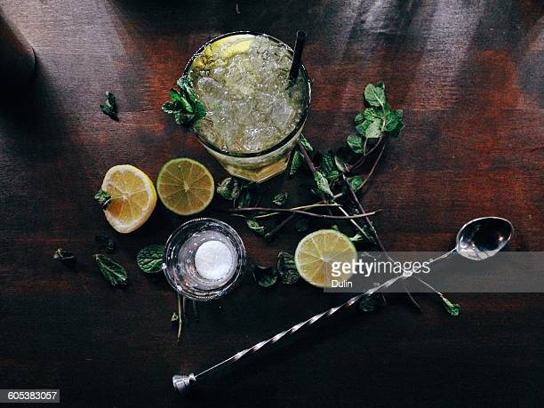 overhead view of a fresh mojito on bartop - mojito stock photos and pictures