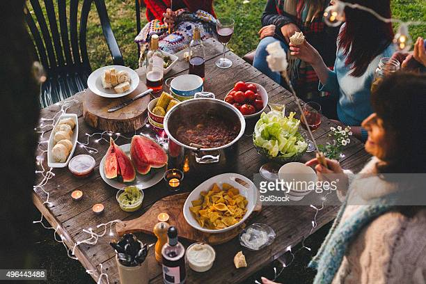 Overhead View of a Garden Party Dinner