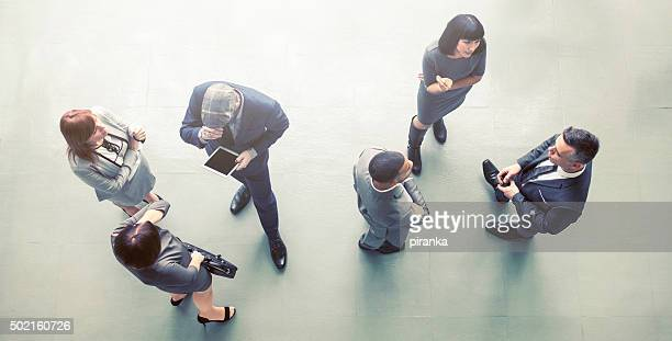 Overhead view of a group of businesspeople