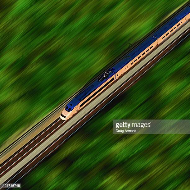 Overhead view of a high speed train