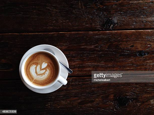 Overhead view of a latte coffee