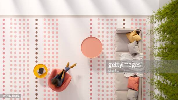 overhead view of a living room - pale pink stock pictures, royalty-free photos & images
