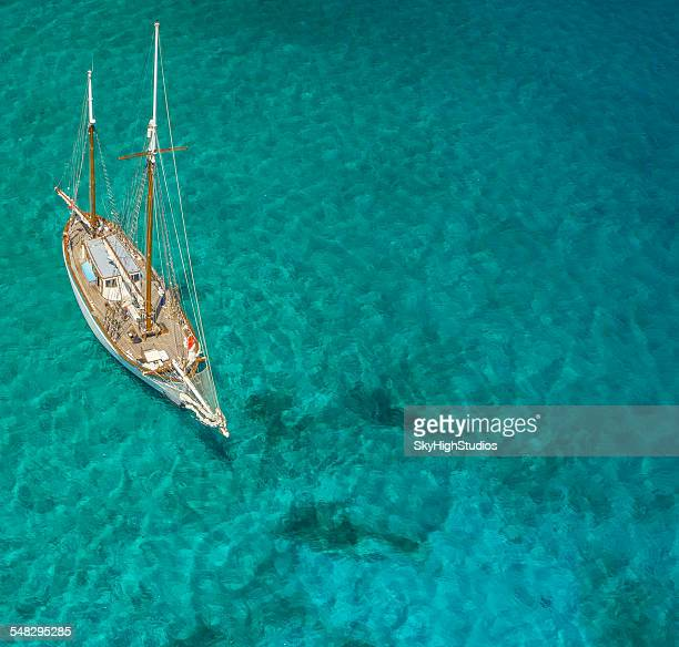 Overhead view of a sailboat, Caribbean