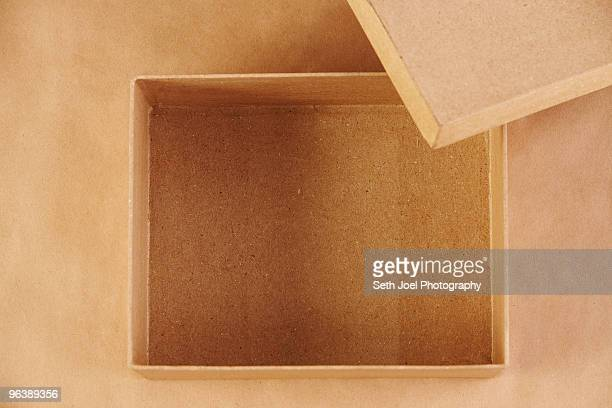 Overhead view of an empty cardboard box