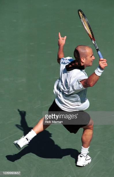 Overhead view of Andre Agassi who will play in the final against Todd Martin