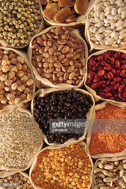 Overhead view of assorted bags of beans and nuts