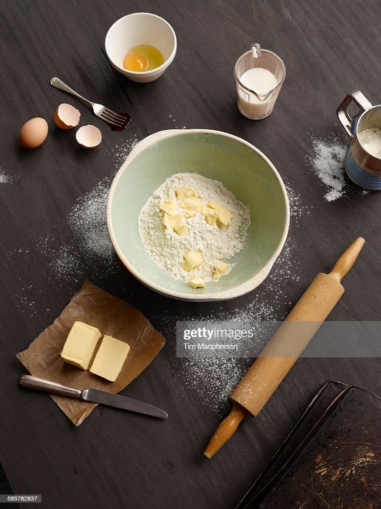 Overhead view of baking table with mixing bowl : Stock Photo