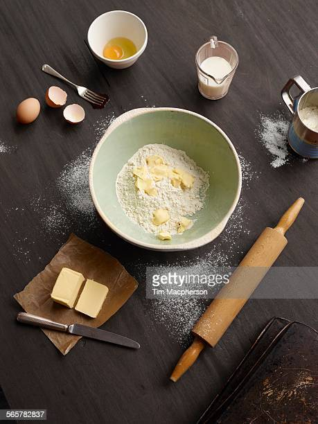Overhead view of baking table with mixing bowl
