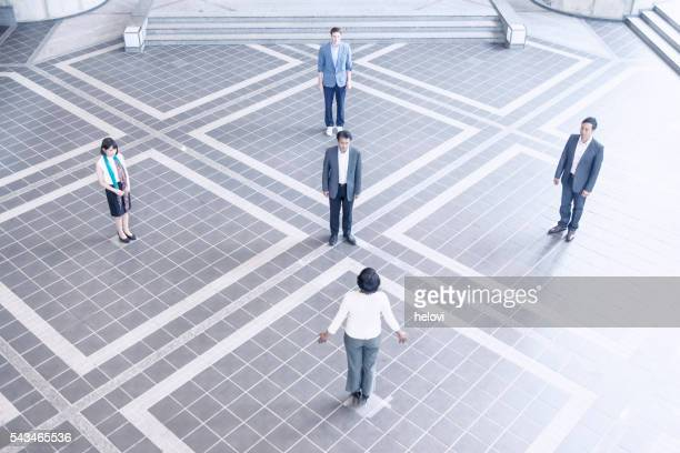 Overhead view of business people in lobby
