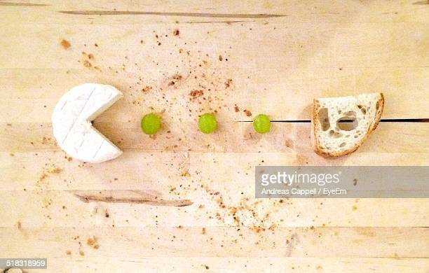 overhead view of cheese and bread - camembert stock photos and pictures