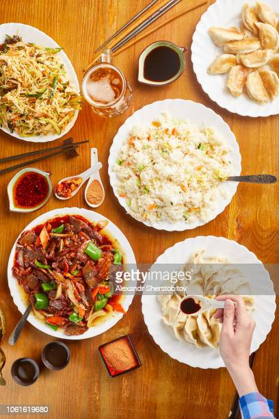 Overhead view of Chinese food