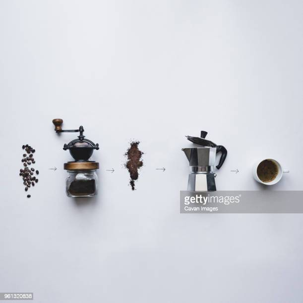 overhead view of coffee making procedure against white background - coffee grinder stock photos and pictures