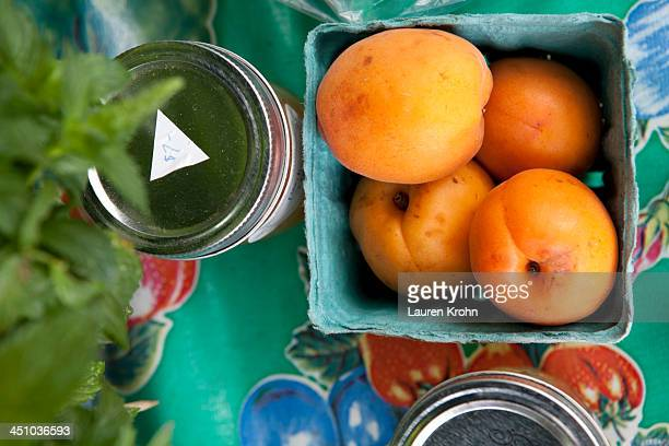overhead view of colorful farmers market table - sag harbor stock photos and pictures