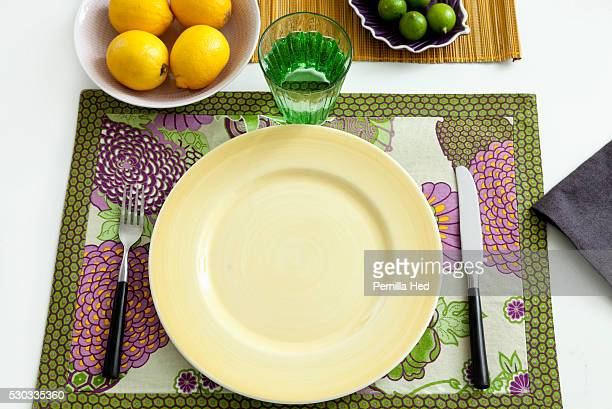 Overhead view of colorful place setting
