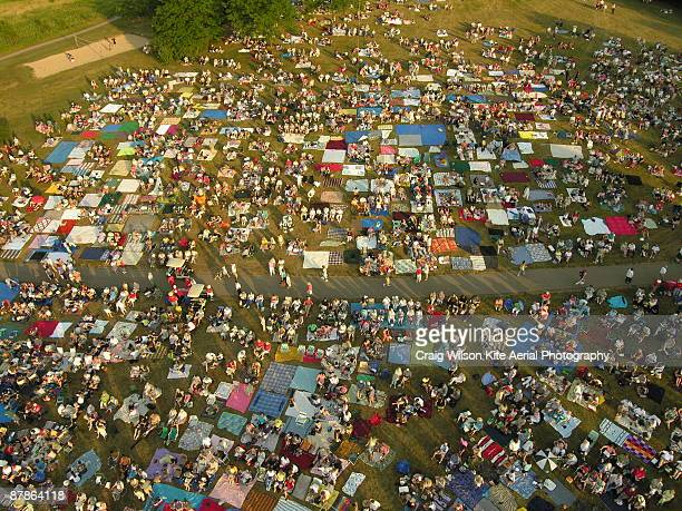 overhead view of crowd gathered  - madison wisconsin stock pictures, royalty-free photos & images