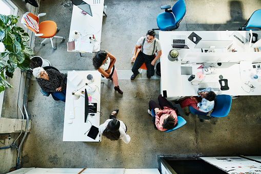 Overhead view of design team having project meeting in office - gettyimageskorea