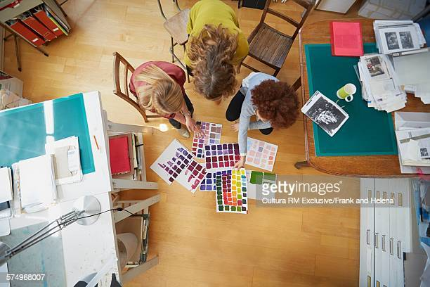 Overhead view of designers working in office