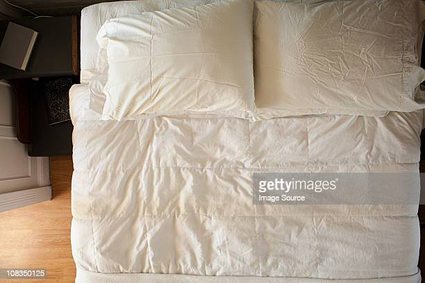 Overhead view of double bed