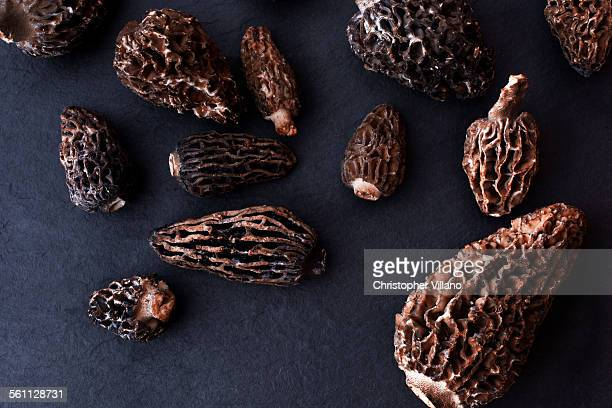 Overhead view of dried morel mushrooms