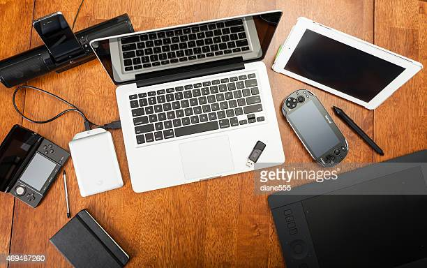 Overhead View Of Electronic Devices On A Desk