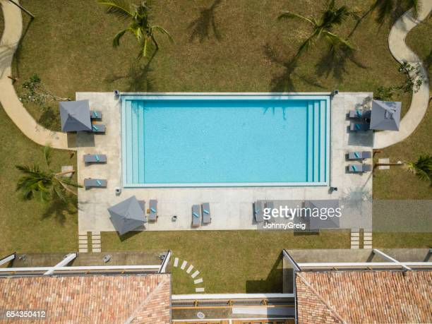 Overhead view of empty swimming pool
