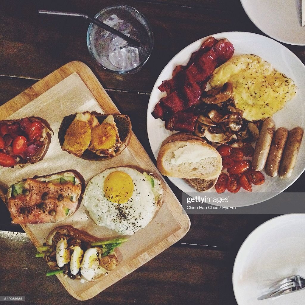 Overhead View Of English Breakfast On Wooden Table : Stock Photo