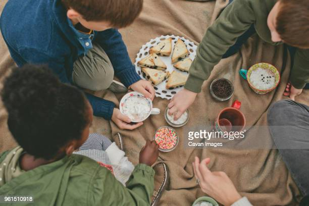 Overhead view of family eating food on beach blanket